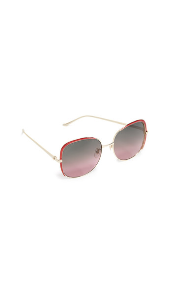 Gucci Oversized Embellished Square Shape Sunglasses in gold / red