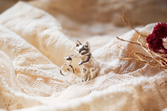 Cat RingDancing Cat RingSterling Silver Cat by ionasilver on Etsy