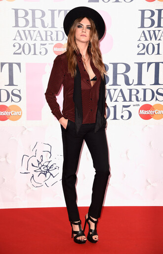 blouse brit awards 2015 shirt cara delevingne sandals pants hat shoes
