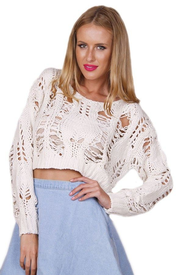 top white top open knit sweater loose weave sweater loose weave top distressed top distressed crop www.ustrendy.com
