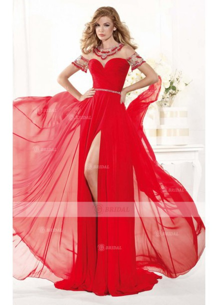 dress red prom dress short sleeve