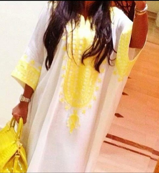 dress kaftan abaya yellow white arab arabic maghreb