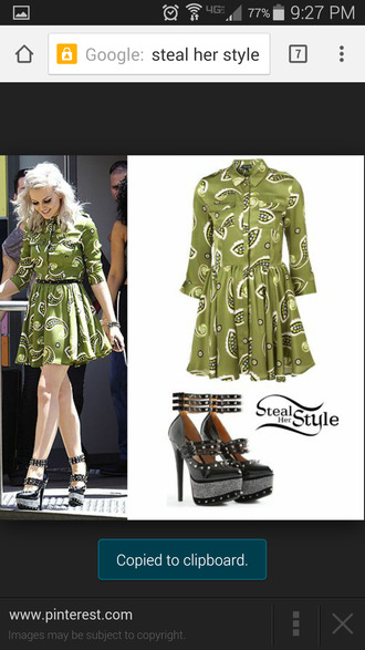 perrie edwards green dress leaves