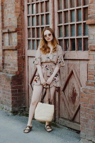 kristina magdalina blogger sunglasses romper bag basket bag sandals summer outfits