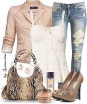 bag,blouse,pants,jewels,shoes,jacket,jeans,tank top,shirt,jumpsuit,blazer,top,high heels,lace,bow,white,nude,creme,ivory,rose,mexx