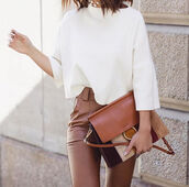 bag,brown pants,tumblr,chloe bag,chloe faye bag,brown bag,pants,sweater,white sweater,three-quarter sleeves,fall accessories,fall colors,high waisted pants,minimalist top,office outfits,fall outfits