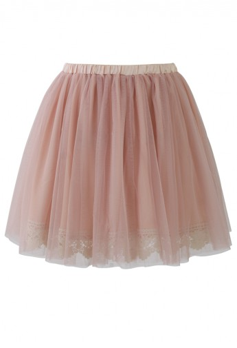 Fairy Tulle Skirt with Lace Trimming in Pink - Retro, Indie and Unique Fashion