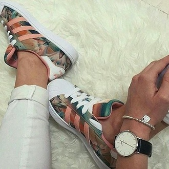shoes adidas flowers casual
