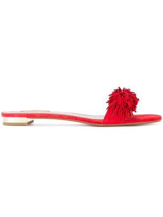 women sandals suede red shoes