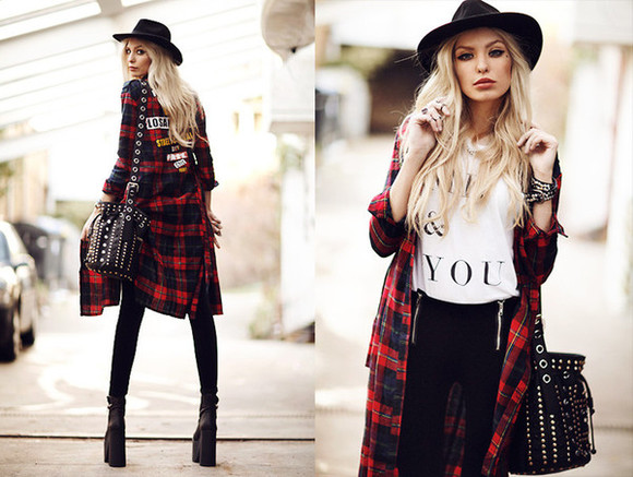bag shirt dress maxi fashion red dress plaid clothes top blouse hat high heels boots tank top