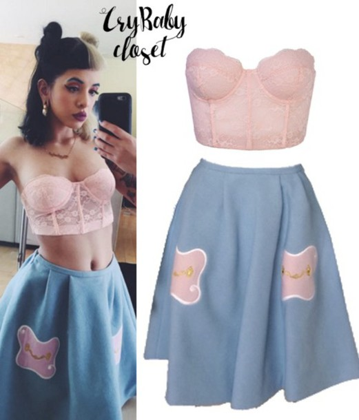 Blouse Pink Top Cute Skirt Cute Outfits Melanie Martinez Blue Skirt Lace Bralette Pink