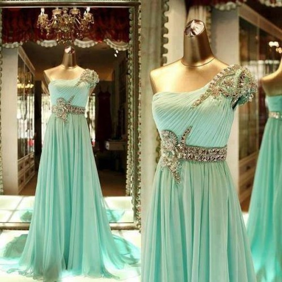 dress mint green dress silver one shoulder
