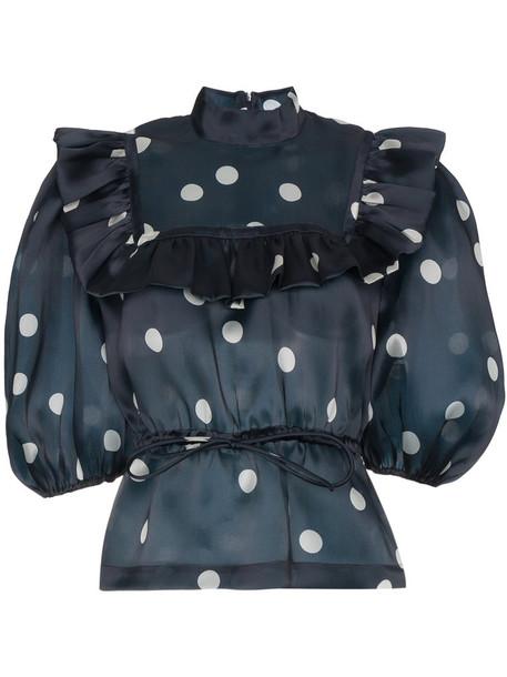 Ganni blouse women blue silk satin top