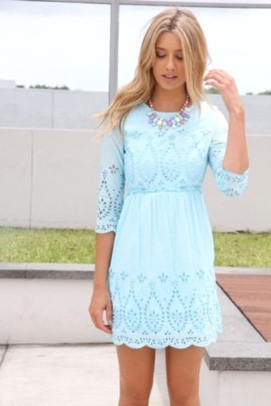 dress long sleeved dress lace dress blue dress midi dress classy dress summer dress summer style baby blue light blue dress