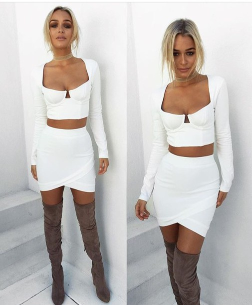 Top: white top, two-piece, cute outfits, white, thigh high boots ...