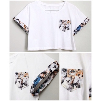 shirt cats crop tops animal pocket t-shirt streetwear