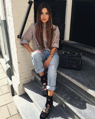 shoes tumblr denim jeans blue jeans cuffed jeans top three-quarter sleeves grey top ballet flats flats black flats miu miu bag black bag