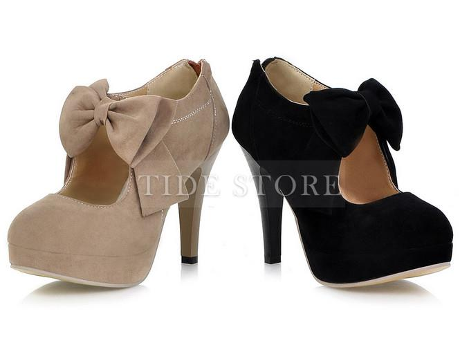 Sweet knot bows platform high heel pumps : tidestore.com
