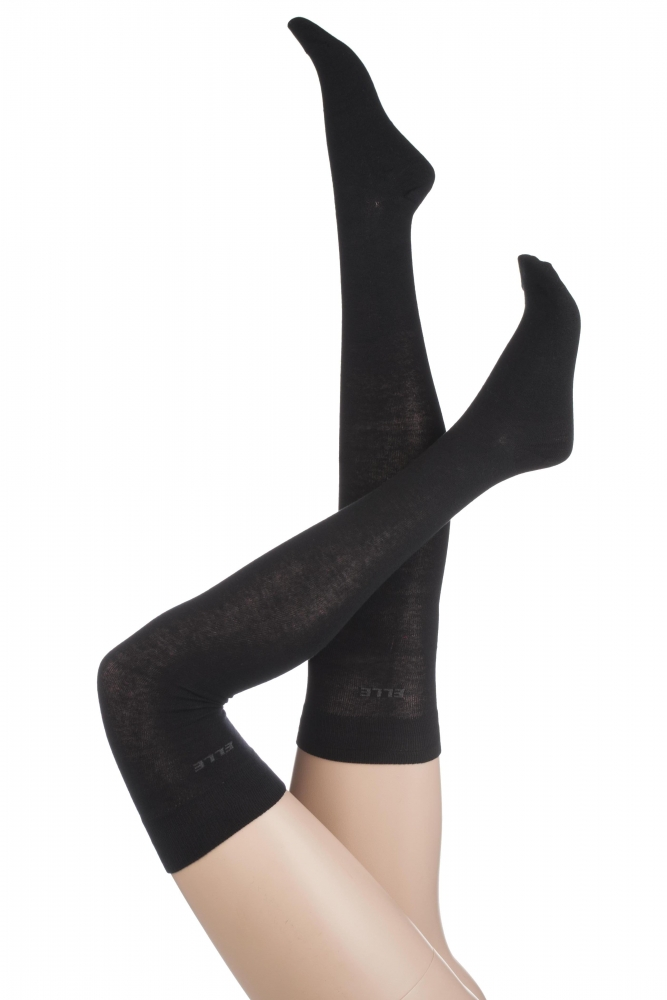 Ladies 2 Pair Elle Plain Cotton Over The Knee Socks