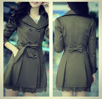 jacket tailoring coat/ jacket/ shirt green jacket lace up style fashion ribbon trench coat trench jacket mignon noeud ceinture
