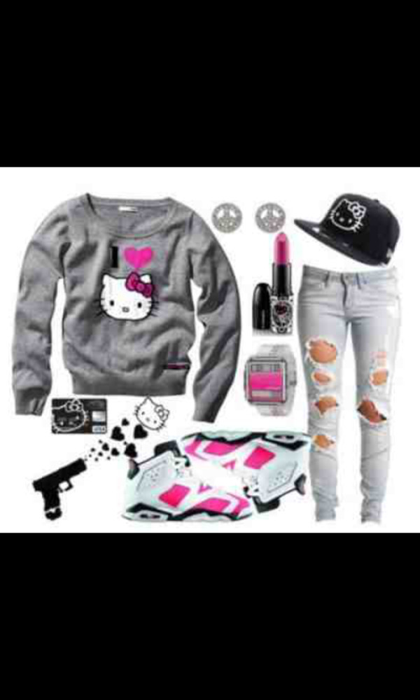 jeans hello kitty sweater hat jewelry