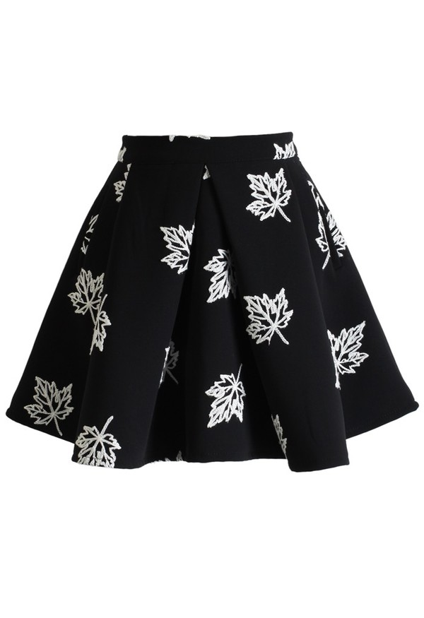 chicwish maple embroidered skater skirt