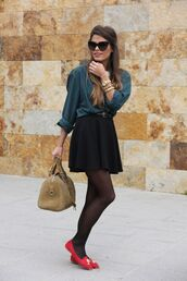 shoes,black skirt,suede bag,red loafers,red shoes,loafers,tights,mini skirt,shirt,blue shirt,sunglasses,bag