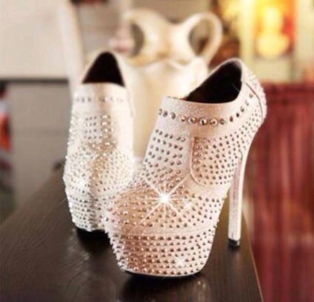 shoes rhinestones high heels cream high heels glitter shoes high heel ankle boots