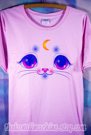 Magical Moon Kitty Cat Face Graphic T Shirt Kawaii Fairy Kei Pastel Goth