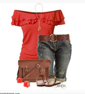 top,off the shoulder,flowy sleeves,form fitting,salmon,draped sleeves,jeans,capri jeans,bag,purse,satchel,sandals,necklace,earrings,belt,clothes,ruffle,red top