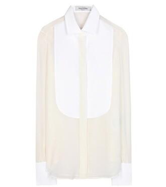 shirt chiffon silk white top