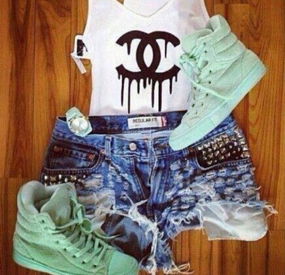 shoes sneakers sneakers high blouse mint chanel