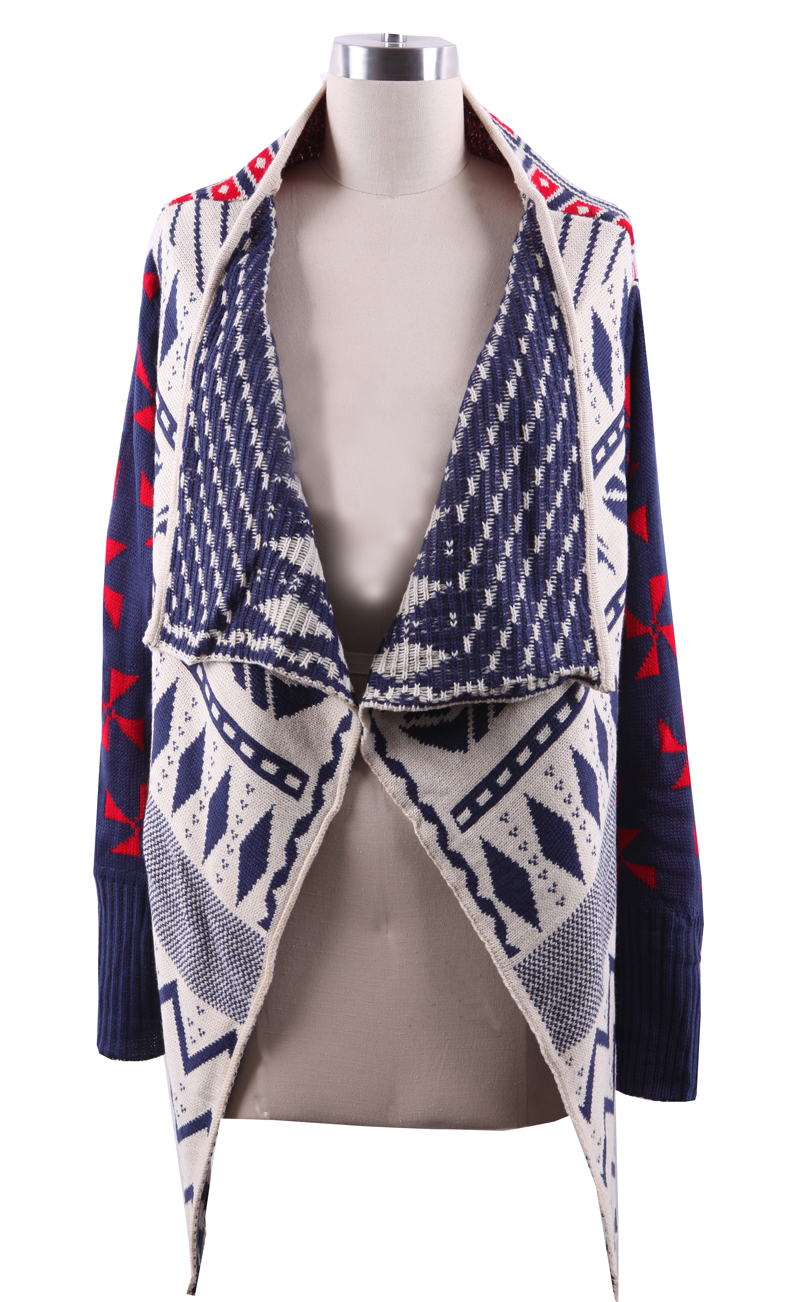 Navy Draped Collar Geo Tribal Pattern Open Cardigan - Sheinside.com