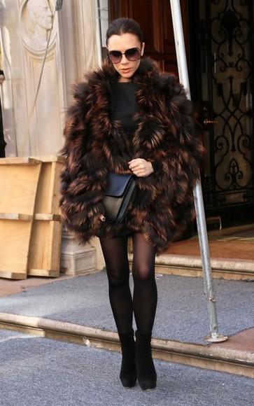 victoria beckham fur coat
