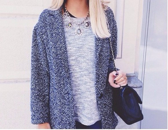 hippie black white blouse jacket cardigan grey hiver