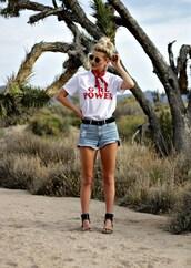 t-shirt,denim shorts,mini shorts,sandals,bandana,blogger,blogger style,slogan t-shirts