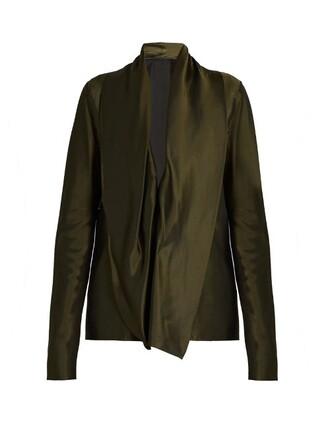 blouse draped satin green top