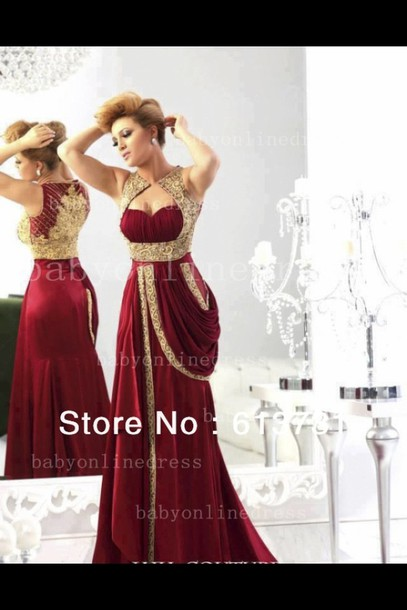 Dress Prom Dress Long Red Dress Red Dress Gold Burgundy Dress