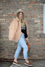 blonde bedhead,blogger,sweater,jeans,shoes,hat,loafers,winter outfits,shearling jacket