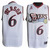 Allen Iverson #6 White NBA Sixers Swingman Jersey Black Red Numbers