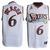 Allen Iverson #6 White NBA Sixers Swingman Jersey Black Red Numbers