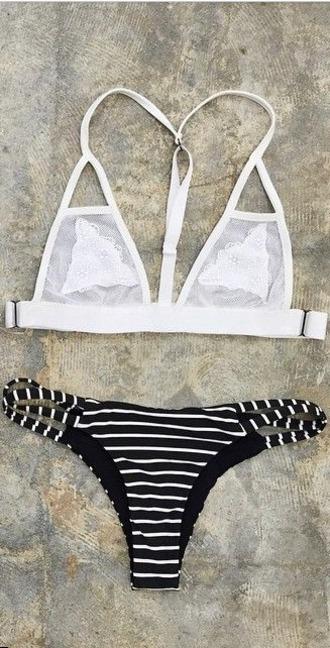swimwear white swimwear black and white stripes cheeky swimwear cheeky strappy bikini sheer minimal coverage