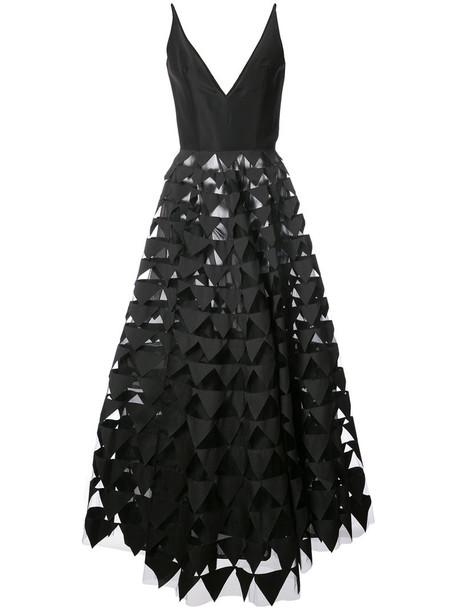 oscar de la renta gown women geometric black silk dress