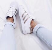 shoes,adidas superstars,rose gold