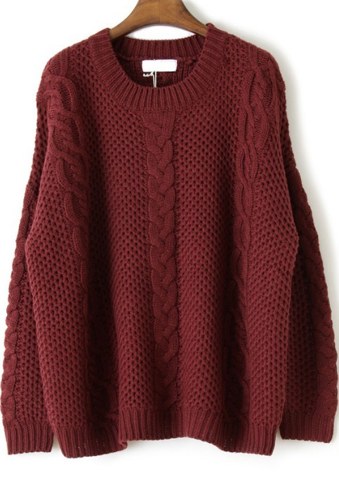 Red Long Sleeve Embroidery Loose Pullovers Sweater - Sheinside.com