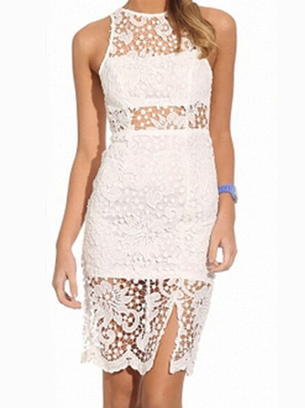 dress backless white sleeveless bodycon dress hollow lace round neck knee length
