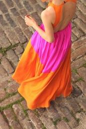 atlantic pacific,dress,sunglasses,jewels,tumblr,orange and pink maxi,maxi dress,orange dress,pink dress,backless dress,long dress