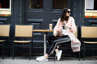 fashion vibe blogger t-shirt leather pants stan smith pink coat jacket