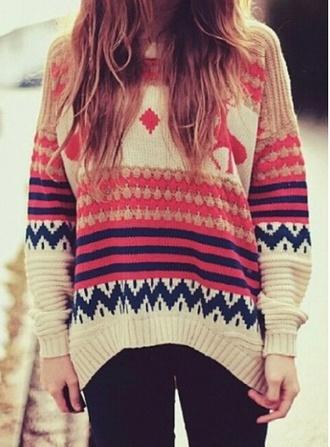 sweater winter sweater boho tribal pattern tribal sweater spring colors