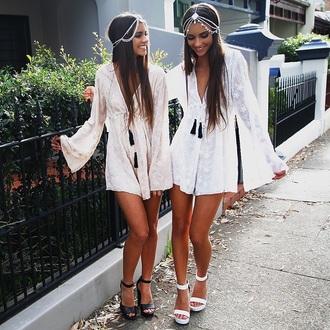 romper dress white dress hippie boho dress hipster bikini shoes jewels